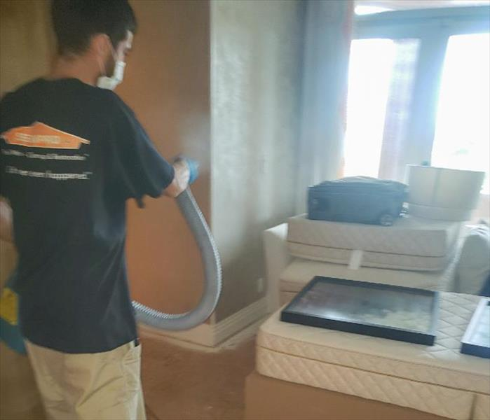 SERVPRO technician fogging a Delray Beach home to disinfect it